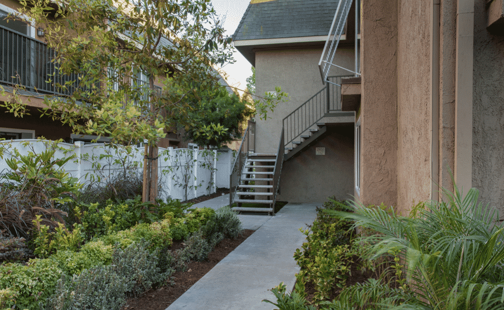 Lush landscaping and peaceful walk ways