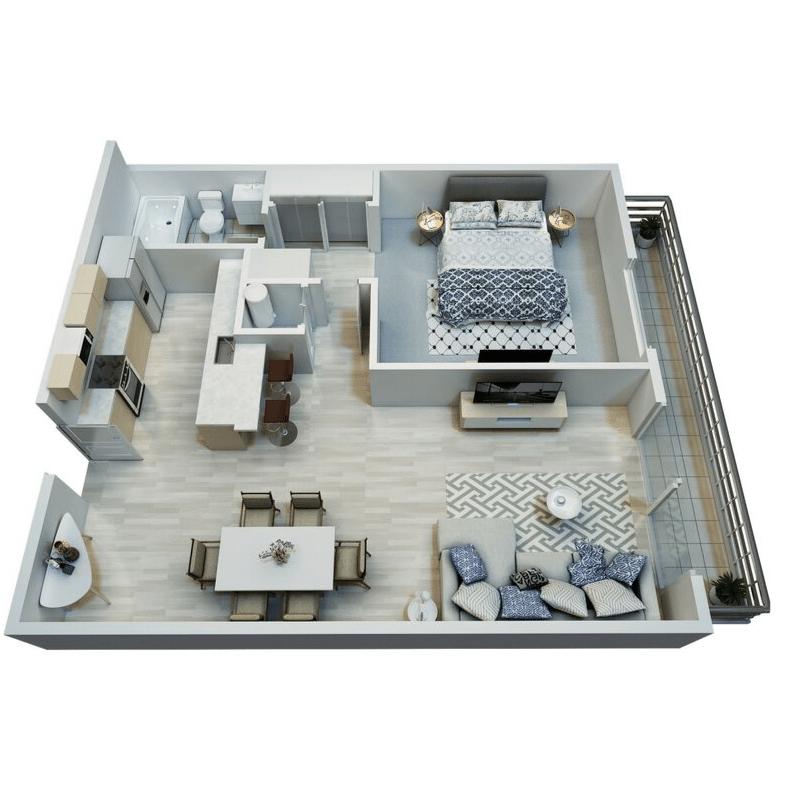 One bedroom apartment for rent floor plan