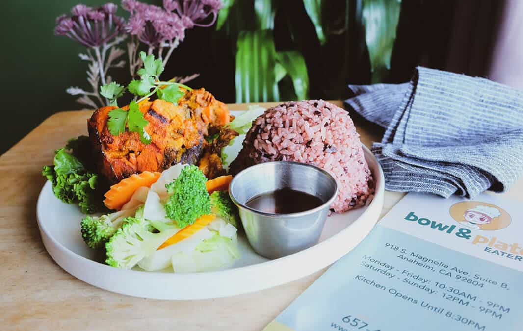 Plate of healthy foods from Bowl & plate